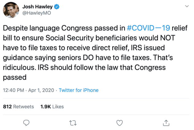 Despite language Congress passed in #COVIDー19 relief bill to ensure Social Security beneficiaries would NOT have to file taxes to receive direct relief, IRS issued guidance saying seniors DO have to file taxes. That's ridiculous. IRS should follow the law that Congress passed